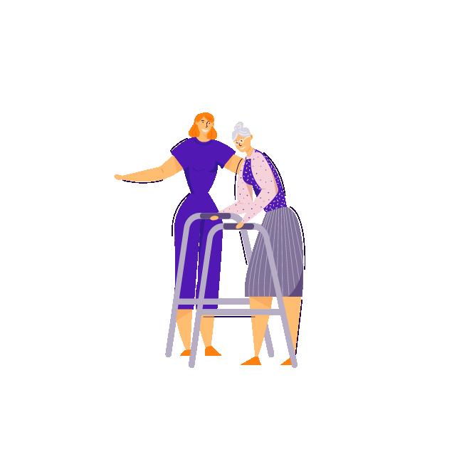 Infermeres ajuda a caminar una dona gran