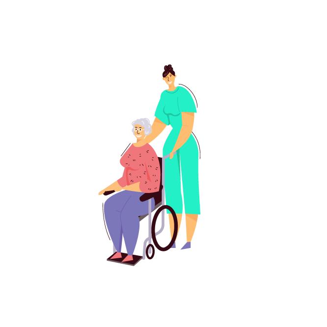 Infermera porta amb cadira de rodes una dona gran